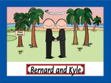 Beach Wedding Cartoon Picture Male and Male - Personalized 9102