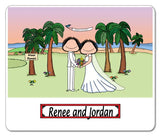 Beach Wedding Cartoon Picture Female in Pants and Female - Personalized 9104