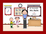 #1 Teacher (in pants) Cartoon Picture Female - Personalized 9108