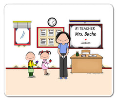 #1 Teacher (in pants) Mouse Pad Female Personalized