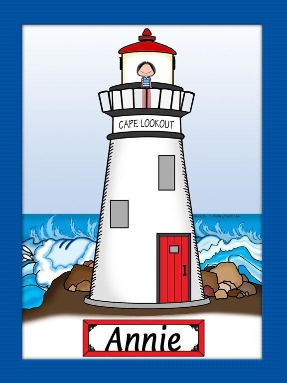 Lighthouse Cartoon Picture Female - Personalized 9111