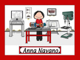 Mechanical Engineer Cartoon Picture Female - Personalized 9113