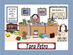 Messy Desk Executive Cartoon Picture Female - Personalized 9117