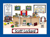 Messy Desk Executive Cartoon Picture Male - Personalized 9118
