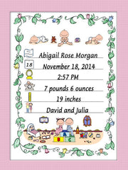 Birth Announcement Cartoon Picture - Personalized 9119