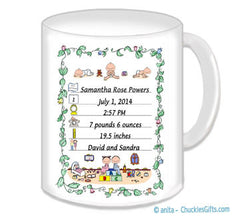Birth Announcement Mug Personalized