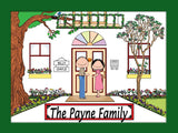 Family Home Cartoon Picture 2 Names Personalized 9120