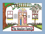 Family Home Cartoon Picture 3 Names Personalized 9120
