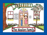 Family Home Cartoon Picture 4 Names Personalized 9120