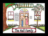 Family Home Cartoon Picture 5 Names Personalized 9120