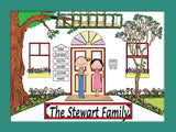Family Home Cartoon Picture 6 Names Personalized 9120