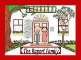 Family Home Cartoon Picture 7 Names Personalized 9120