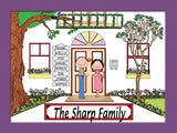 Family Home Cartoon Picture 8 Names Personalized 9120