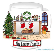 Christmas Fireplace with 2 Names Mug Personalized