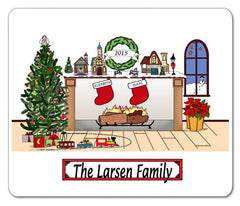 Christmas Fireplace with 2 Names Mouse Pad Personalized