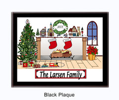 Christmas Fireplace Plaque 2 Stockings
