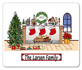 Christmas Fireplace with 3 Names Mouse Pad Personalized