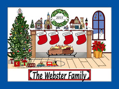 Christmas Fireplace Cartoon Picture 4 Names Personalized 9127