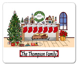 Christmas Fireplace with 7 Names Mouse Pad Personalized