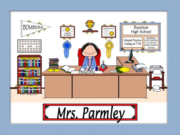 School Administrator Cartoon Picture Personalized School