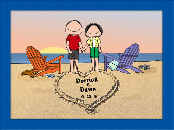 Wedding Gifts For Military Couples: Lovers On The Beach Cartoon Picture