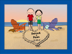 Lovers on the Beach Matted Cartoon Male and Female - Personalized 9138