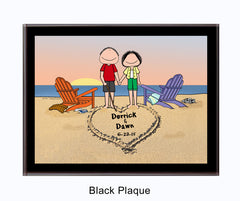 9138 - Lovers on the Beach Black Plaque Male and Female - Personalized