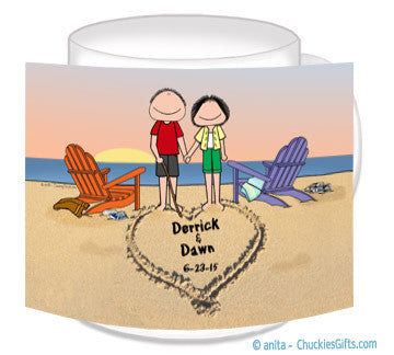 9138 - Lovers on the Beach Mug Male and Female - Personalized