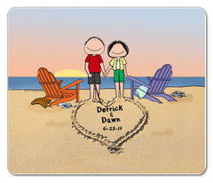 9138 - Lovers on the Beach Mousepad Male and Female - Personalized