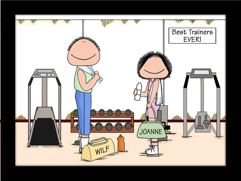 Personal Trainers Cartoon Picture Male and Female - Personalized 9141
