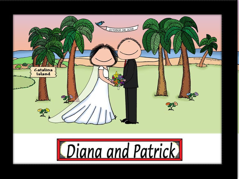 Wedding on the Beach (Facing) Cartoon Picture