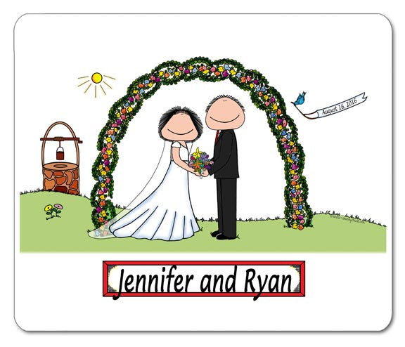 Wedding Outdoor Couple (Facing) Mouse Pad