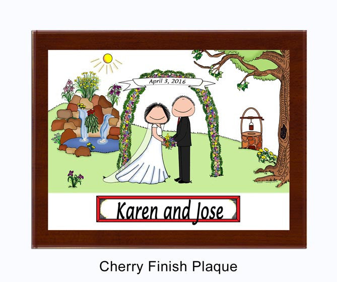 Wedding with Waterfall (Facing) Plaque