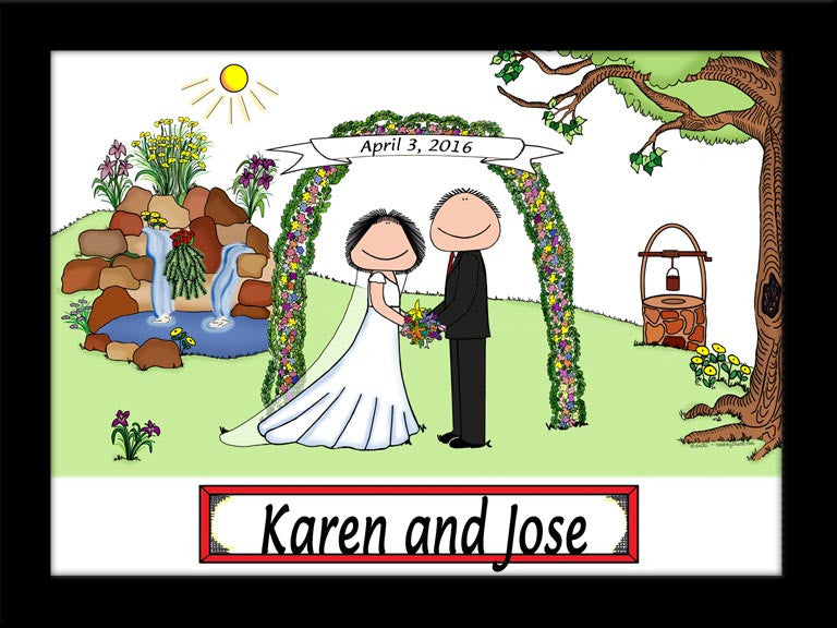 Wedding with Waterfall (Facing) Cartoon Picture