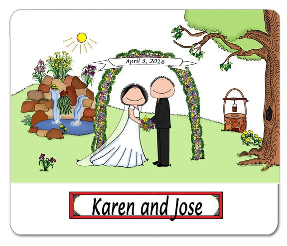 Wedding with Waterfall (Facing) Mouse Pad