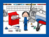 Airplane Mechanic Cartoon Picture Personalized Female 9185