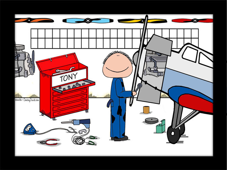 Airplane Mechanic Cartoon Picture Personalized Male 9186
