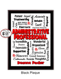 Administrative Professional Black Plaque - Personalized