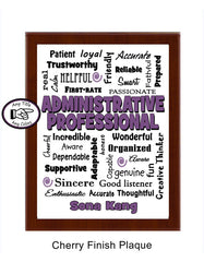 Administrative Professional  Cherry Plaque - Personalized