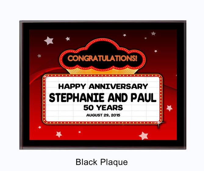 Anniversary Plaque Marquee - Red Star Background/Black Plaque