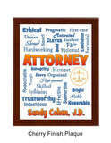 Attorney/Lawyer Plaque Expressions - Personalized Blue & Orange
