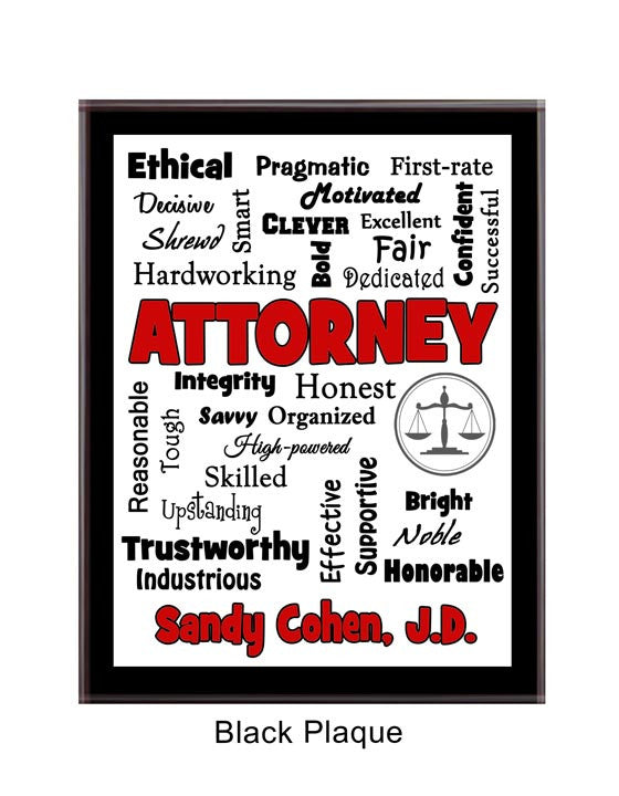 Attorney/Lawyer Plaque Expressions - Personalized Red & Black