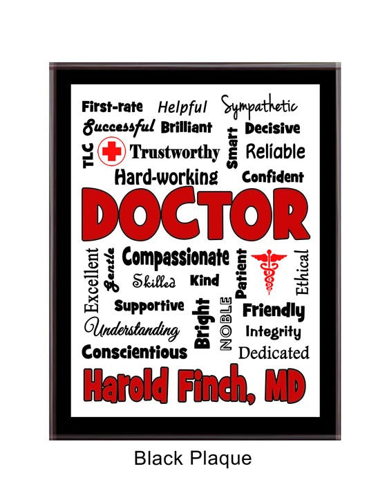 Doctor Plaque Expressions - Personalized - Red & Black