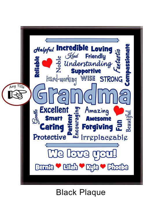 Grandma Plaque Expressions- Personalized - Light Blue & Black