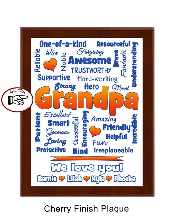 Grandpa Plaque Expressions - Personalized - Blue & Orange