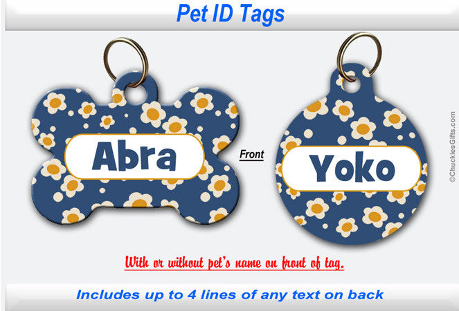 Pet ID Tag - Daisy Blue