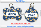 Pet ID Identification Tag- Personalized -Daisy Blue