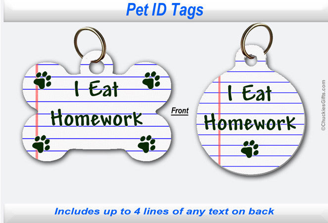 Pet ID Tag - I Eat Homework