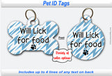 Pet ID Identification Tag - Personalized Will Lick for Food