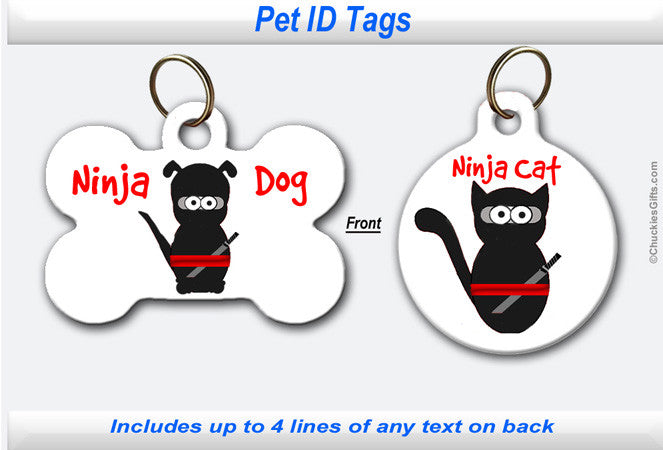 Pet ID Identification Tag- Personalized - Ninja